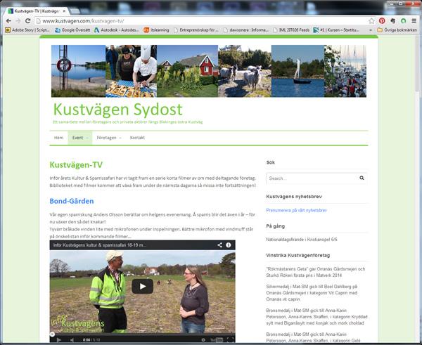 Kustvägens webbplats och Kustvägen-TV