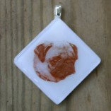 Photo Pendant in glass with sepia color on white