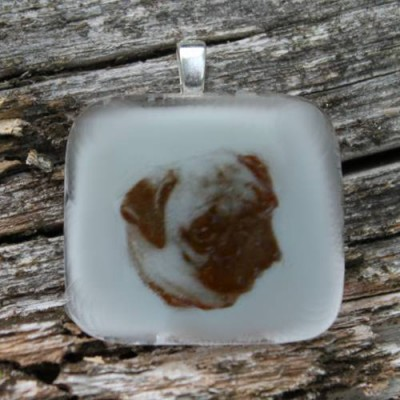 Photo Pendant in glass with brown color on vanilla white